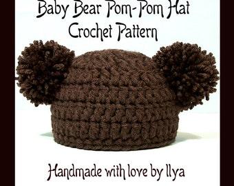 Baby Bear Pom-Pom Hat - PDF PATTERN - Crochet - SIZE Newborn Infant 0-3 months