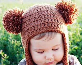 Baby Bear Hat, Handmade Earflap Beanie with 2 Pom-Poms