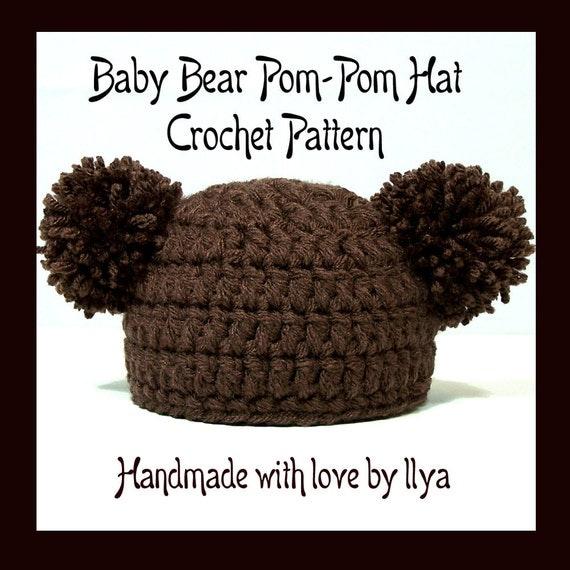Crochet Newborn Pom Pom Hat Pattern : Baby Bear Pom-Pom Hat PDF PATTERN Crochet SIZE Newborn