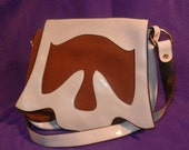 Vintage Brown and Off White Canvas and Pleather Handbag under 30