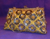 Vintage Yellow & Silver Sequined Beaded Purse Made in Hong Kong