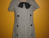 Vintage Houndstooth Dress with Black Bow and Double Breasted Black Button Detail by Bronsons of California