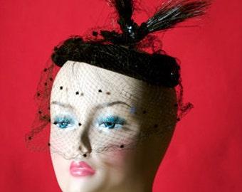 Black Velvet Birdcage Veil Hat