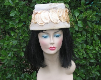 Vintage Cream Velvet Hat with Oval Satin Cut Outs with Veil