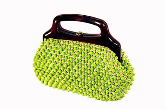 Vintage Lime Green Raffia Beaded Purse Italy Alexanders
