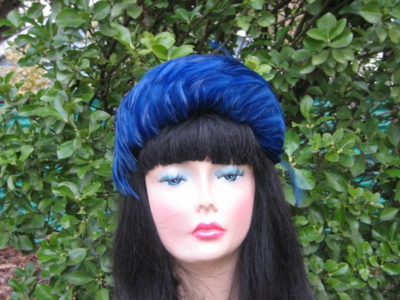1950s Royal Blue Feathered Headband