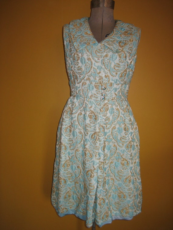 Mad Men Party Dress Vintage Metallic Turquoise and Gold Brocade Shift Dress