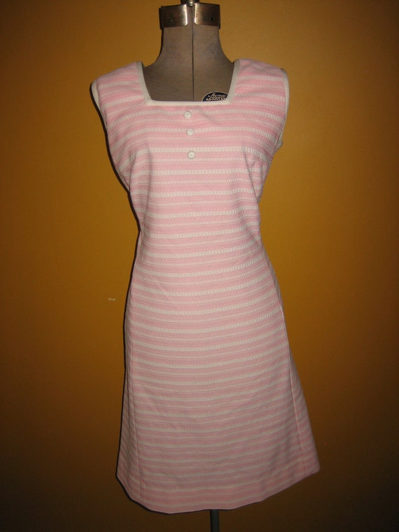 Vintage 60s Pink and White Striped Dress with Matching Jacket by Edith Dresses NYC