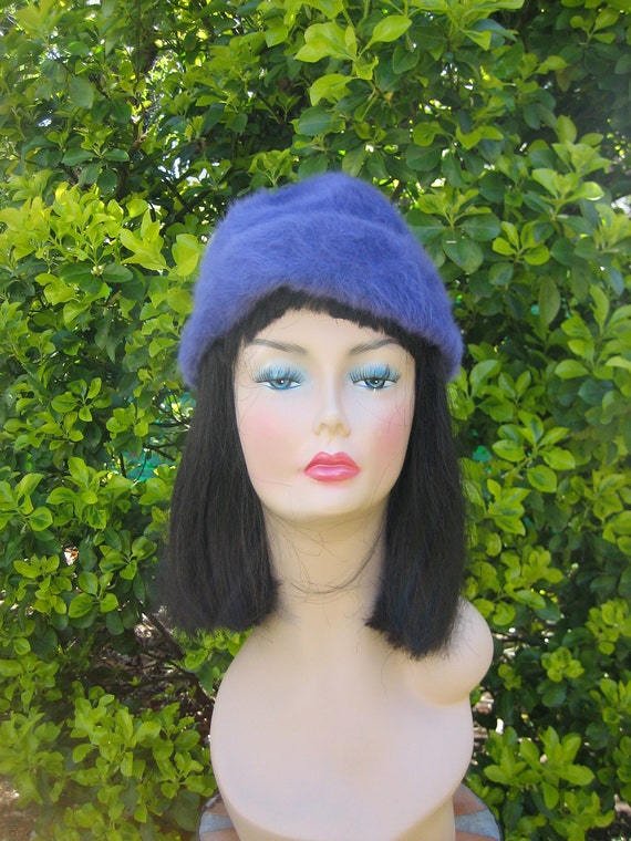 Vintage Purple Rabbit Fur Hat