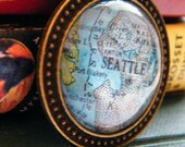 Seattle Pendant - Made from Vintage Atlas under Glass Cabochon