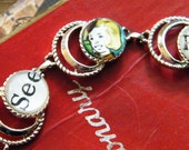 See Pat Go - Altered VIntage Sarah Coventry Silver-toned Bracelet with Illustration Cabs