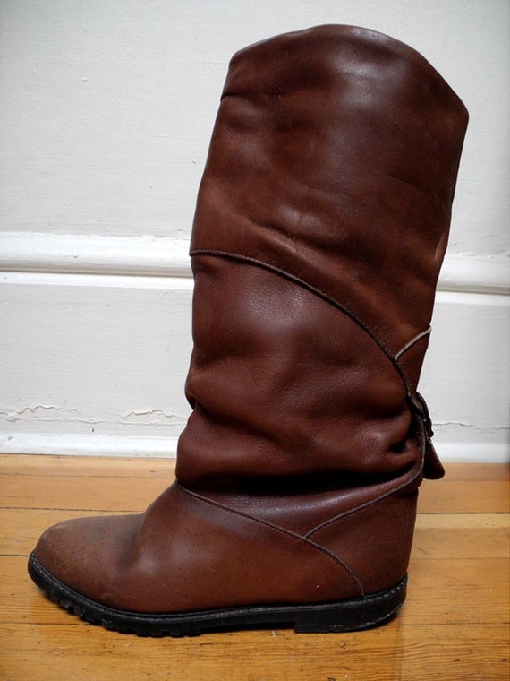 womens fleece lined brown leather boots by