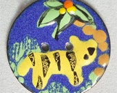 BUTTON in  Enamel on Copper  HANDMADE  Unique Jungle Tiger Design ... Vintage 1980's ..Not Used .
