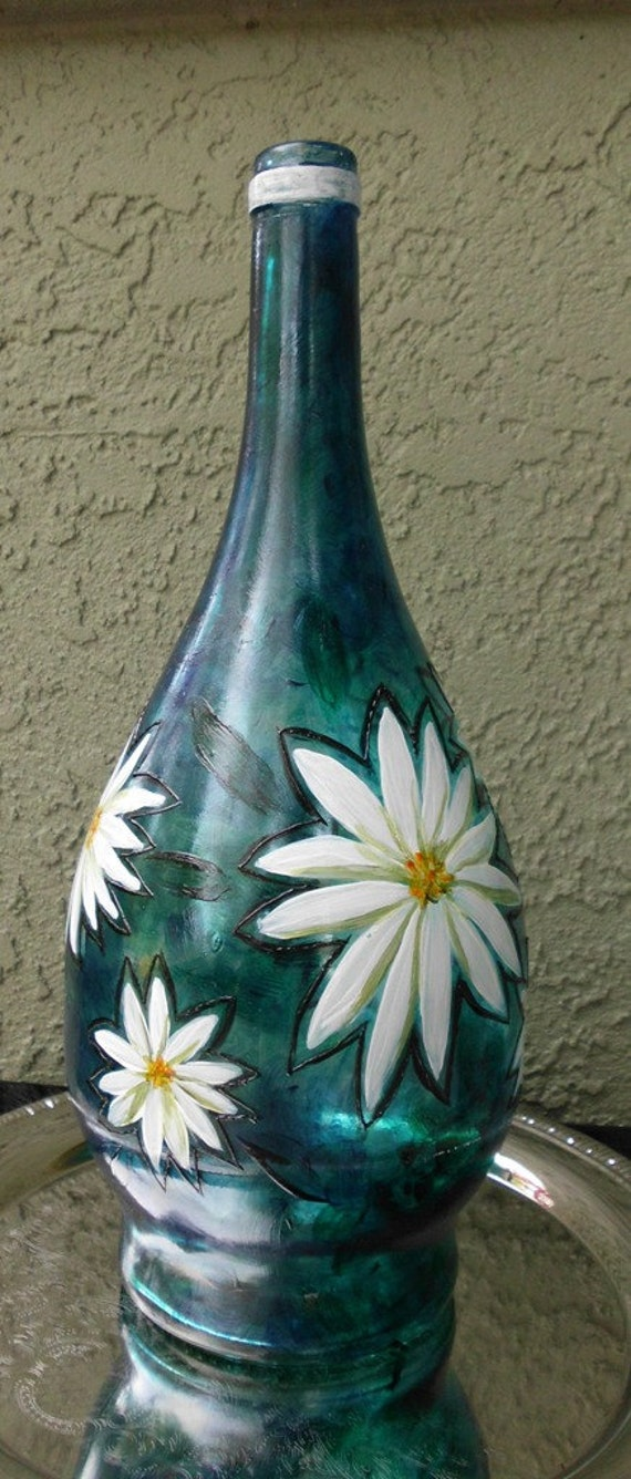 Items similar to on sale white flowers painted on a for Painting flowers on wine bottles
