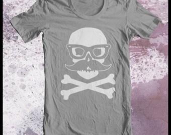 "Skull tshirt men's ""Incognito"" skull with false moustache and glasses"