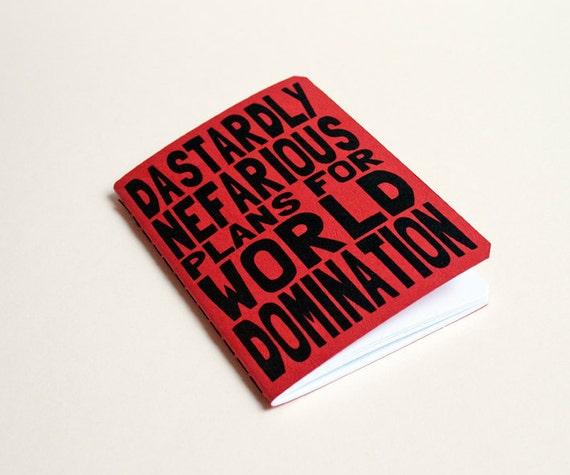 "Handmade notebook ""World domination"" red. Journal. Sketchbook. Notepad. writing. Geek"