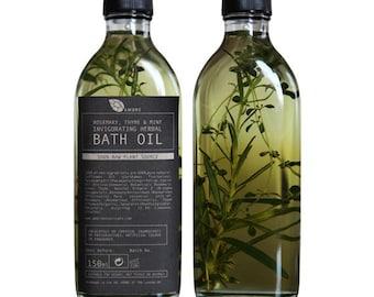 Rosemary, thyme and mint invigorating herbal bath oil 150ml