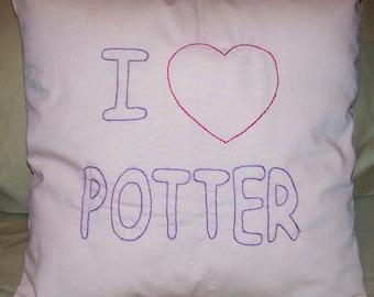 Harry Potter Inspired, I heart Potter, Throw Pillow