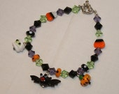 Halloween Charm Bracelet With Glass Lampwork Beads