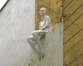 Prague Photo Collection - Sculpture of Woman Sitting on Wall in snow vines 13cm x 18cm (5in x 7in) unframed