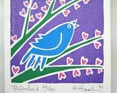 ORIGINAL hand pulled Valentine Spring Bluebird singing on heart flower branch Spring - one blank greeting card