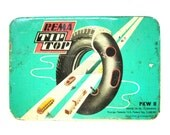 Vintage W. German tin box Rema Tip Top tire repair 1970s mint green