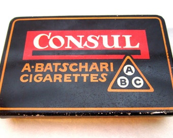 Vintage Swiss cigarette tin box A Batschari 1950s cool graphics