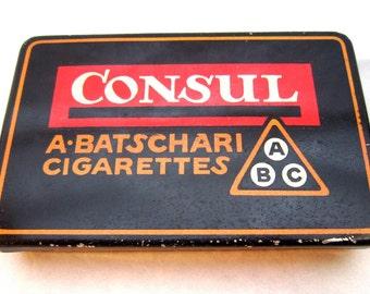 Vintage Swiss cigarette tin box A Batschari 1950s cool graphics