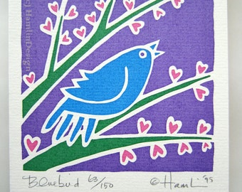 ORIGINAL hand pulled Valentine Spring Bluebird singing on heart flower branch Spring - one blank greeting card