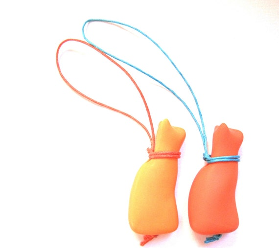 Pair of small handmade cat orange and golden yellow charms zipper pulls decorations key fob OOAK