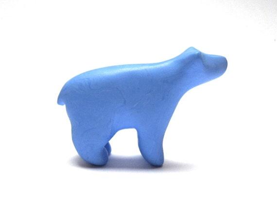 BlueBEARy - little denim blue bear sculpture decoration hand made OOAK