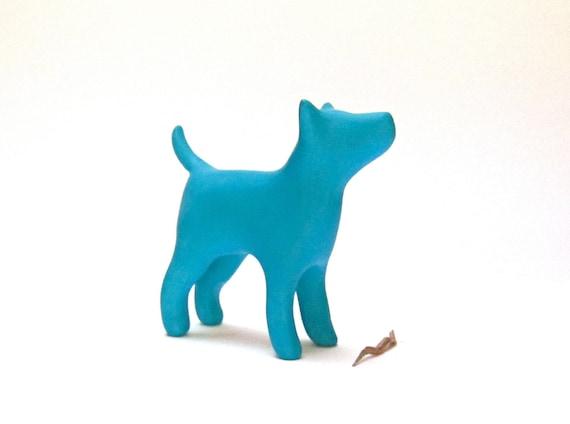 Dog terrier sculpture blue turquoise decoration hand made OOAK waz-O