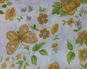 1960s Yellow Butterfly Pillow Case by Monticello