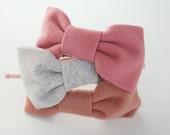 Dusty Pink Wool Big Bow Headband