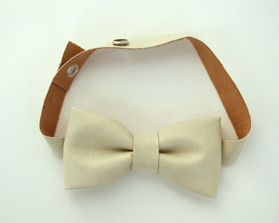 Ivory Bow Tie with Vintage Washing Faux Leather for Toddlers and Boys