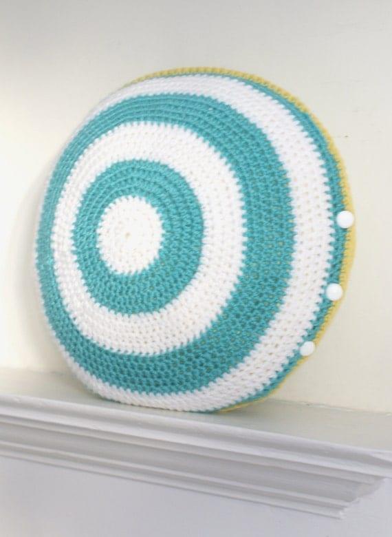 Stripey round crochet cushion cover
