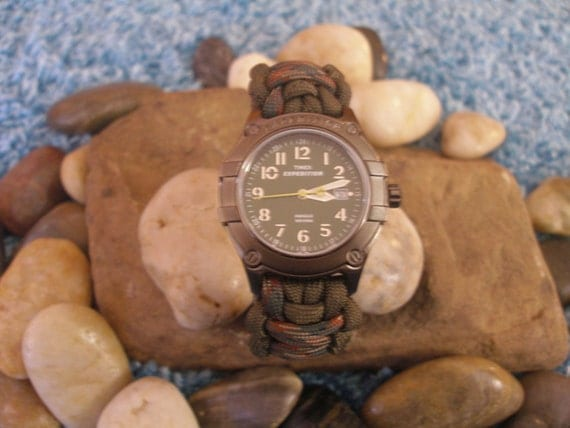 Reserved for Claudia - Expedition Survival Watch - Cobra 550 paracord - rugged - camoflauge band - Choose Size