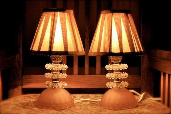 Two Pretty in Pink and Crystal Glass Boudoir Lamps 1950s Rewired with Champagne Gold Shades