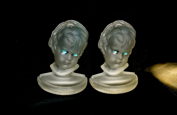 X Reserved for Hwee Do Not Buy X Antique Art Deco 1930s Glass Bookends Strangely Lovely Children