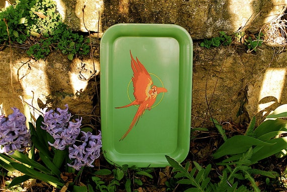 Metal Parrot Serving Tray (2 of 2) -- Tropical Summer Fun in Chartreuse and Orange