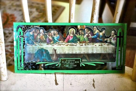 Last Supper Mirrored 'Appreciation' Picture, 1940s, from a Postville Iowa Chicken Hatchery