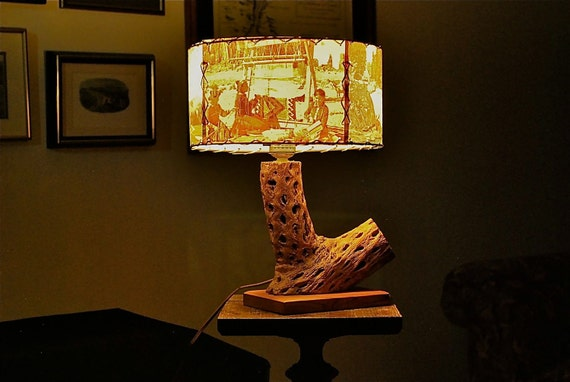 Western Style Cactus Lamp from the 1950s with Scenic View Shade