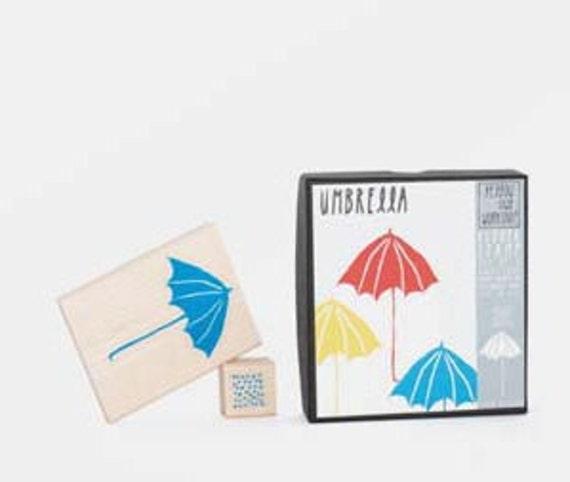 Yellow Owl Workshop Rainy Day Stamp Set (Umbrella and Rain) In Gift Box