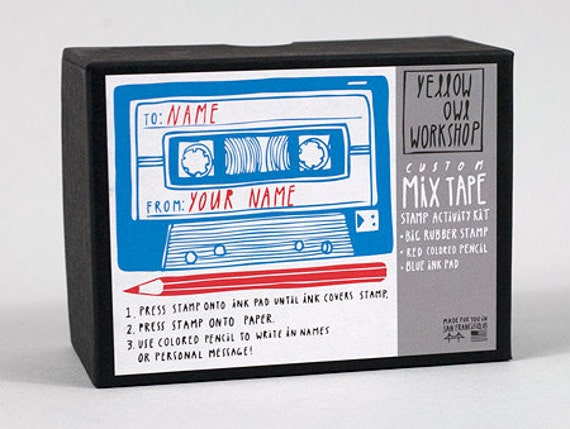 Yellow Owl Workshop Retro Mixtape Stamp Activity Kit (rubber stamp, blue ink pad and red pencil included)