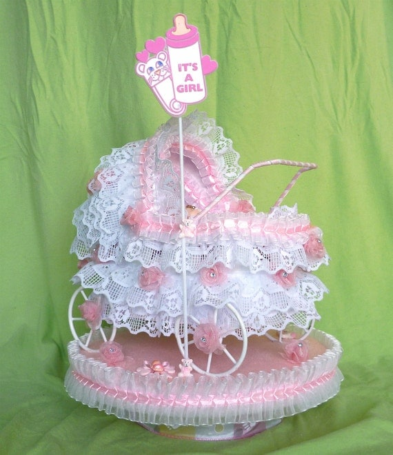 Items similar to baby girl carriage shower centerpiece on etsy for Baby carriage decoration