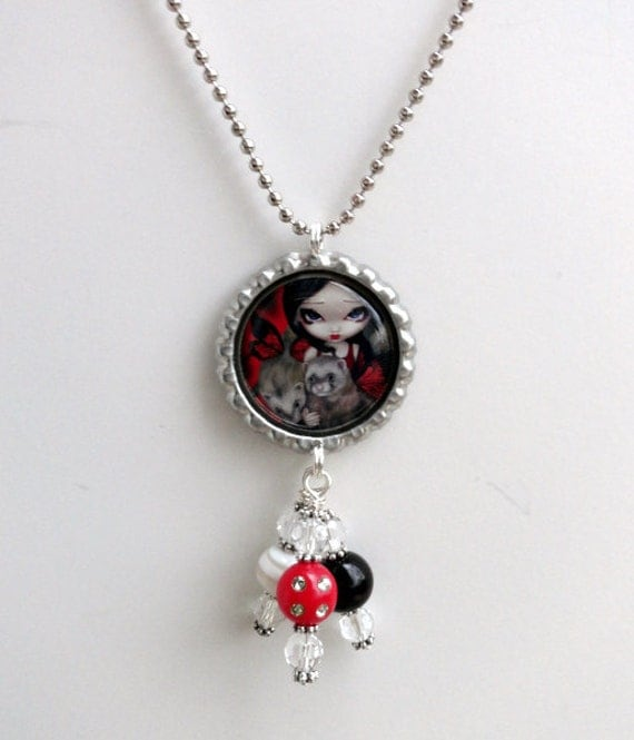 """Jasmine Becket-Griffith  """"Red Butterfly Ferrets"""" Necklace"""