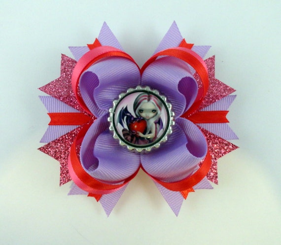 "Jasmine Becket-Griifith  "" Valentine Dragon ""  boutique hair bow"