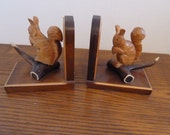 Vintage bookends  wood  hand carved squirrel with antler