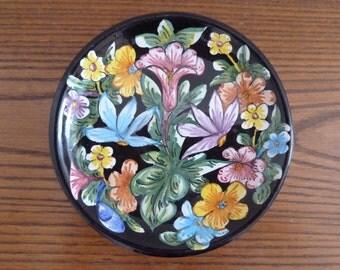 "Vintage art pottery italian ceramic Gubbio wall handing plate hand painted 7"""