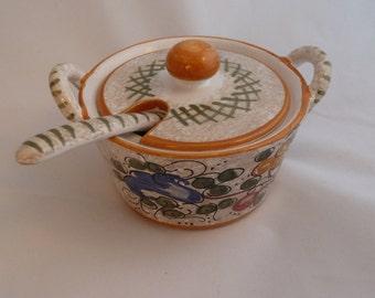 Vintage italian art pottery jam jar with spoon hand painted